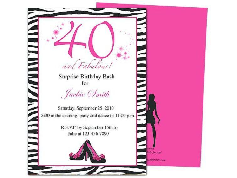 Funny 40th Birthday Invitation Wording Samples