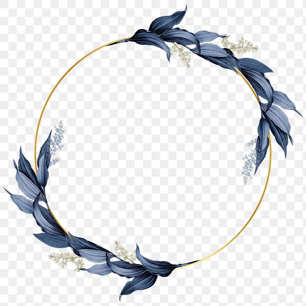 Blue Leaves With Golden Round Frame Design Element Premium Image By Rawpixel Com Hein Frame Design Photoshop Design Ideas Flower Graphic Design