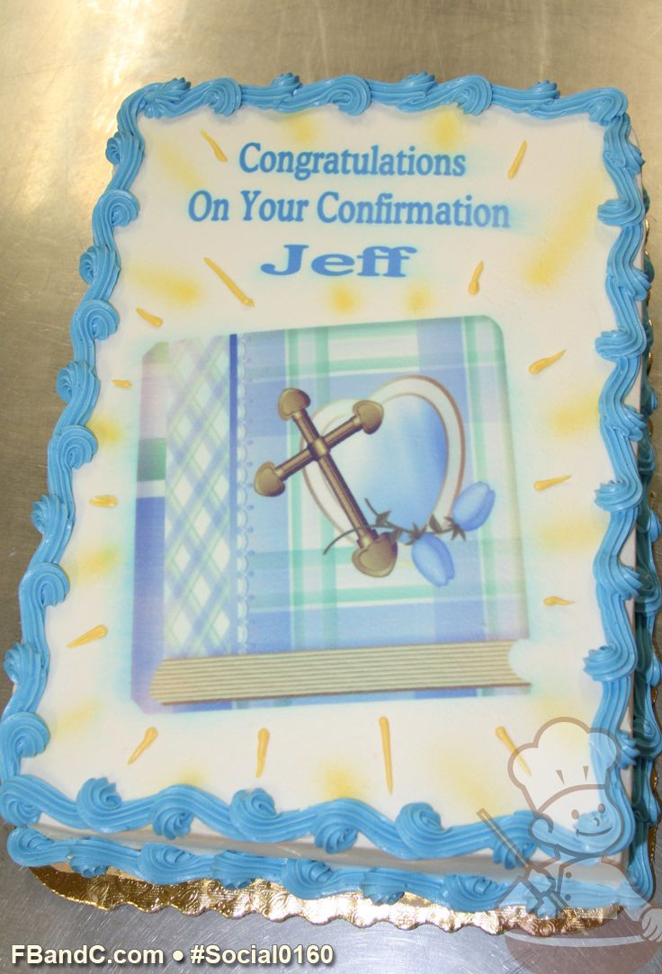 Social0160 Confirmation Cake Bible And Cross Custom Photo With Blue Trim And Yellow Accents Confirmation Cakes Celebration Cakes Custom Photo