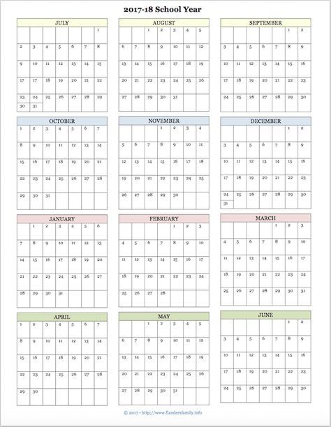 Free Printable Academic Calendar For  School Year  Galaxy