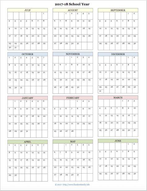 Free printable academic calendar for 2017-2018 school year galaxy