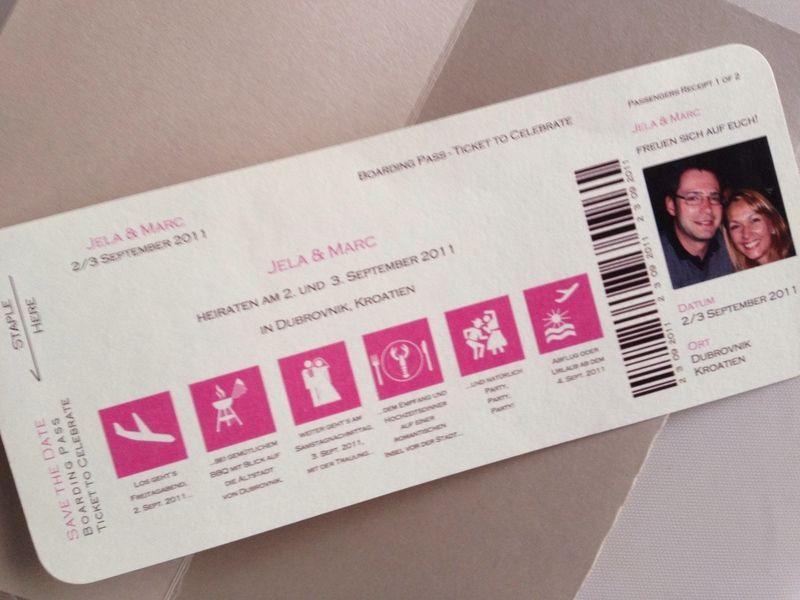 Save The Date Karte   Boarding Pass Von Kreative Papeterie Für Hochzeit,