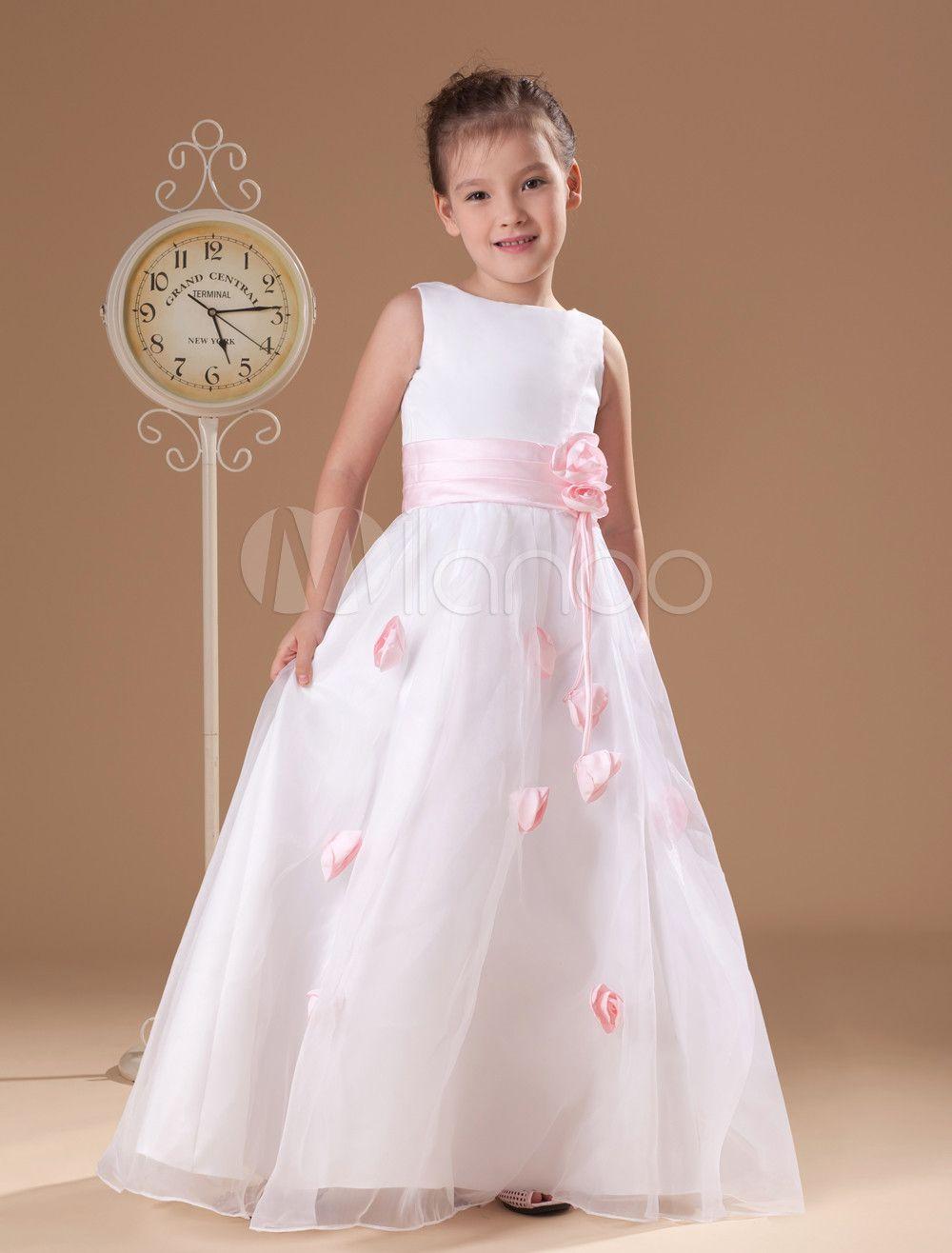 Faixa branca romântica cetim Organza vestido de menina de flor