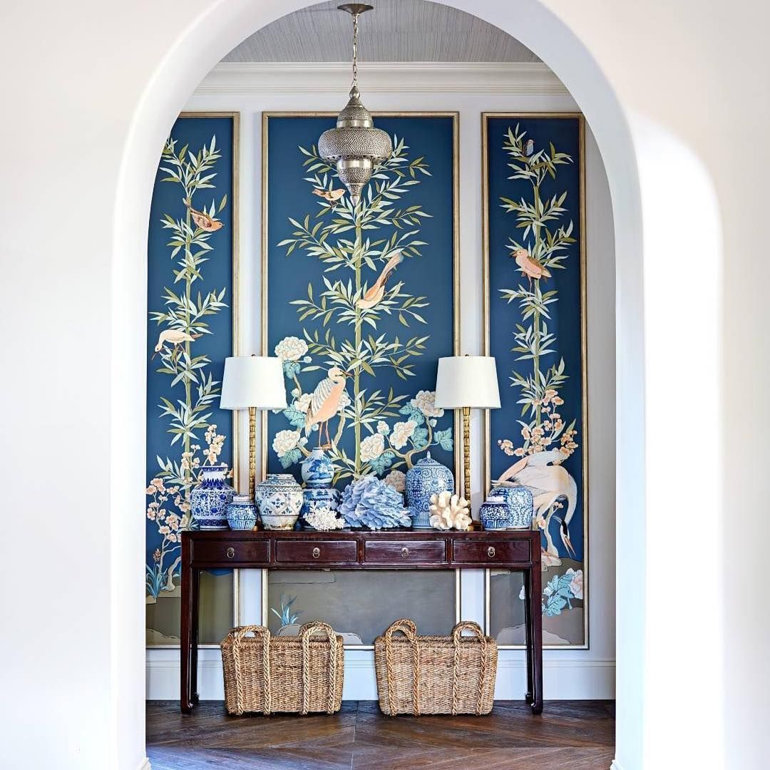 Chinoiserie panels painted by artist allison cosmos for Chinoiserie design