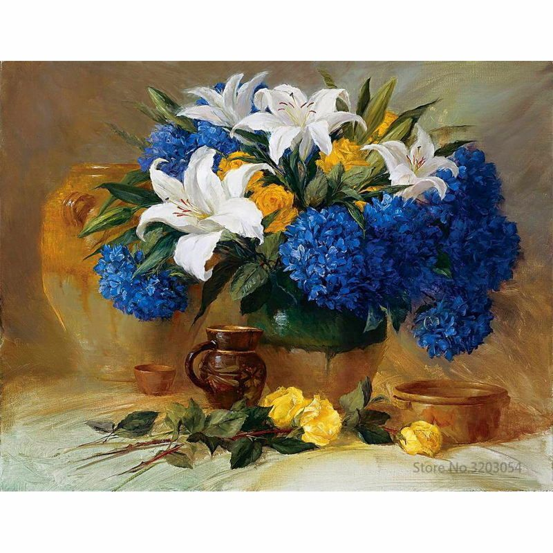 CHUNXIA Framed DIY Painting By Numbers Colorful Flower