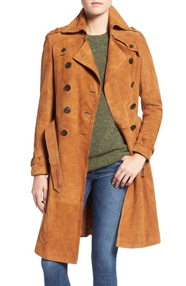 Suede trench.