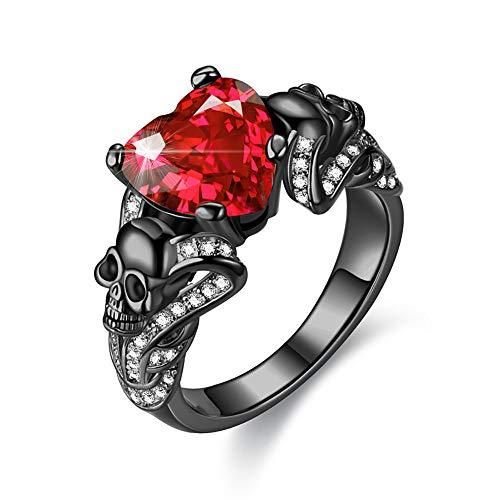 Gothic Black Skull Rings Red Crystal Ring Rings for Women Luxury Brand Newest Design! High Quality Guaranteed! jewelry more beautiful.unique style design, fully in line with the design of human aesthetics, to show your natural charm,these rings are a good choice. A strong and powerful women's black gold red purple white crystal Skull Ring,this is the perfect wedding band to symbolize your love. Gorgeous Attractive and Fashion. And suitable for any occasion, Wedding, Engagement, Congratulation, G