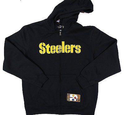 Pittsburgh Steelers Majestic Full Zip Hoodie Sweatshirt Size L