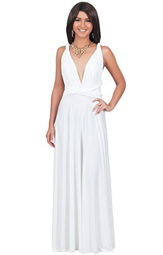 4a6960092445 KOH KOH Women s Bridesmaid Convertible Wrap Long Cocktail Gown Maxi Dress  Dresses - Small - Pure
