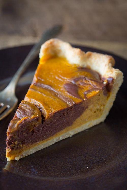 (reblogged from bakeddd.tumblr.com) chocolate swirl pumpkin pie click here for recipe