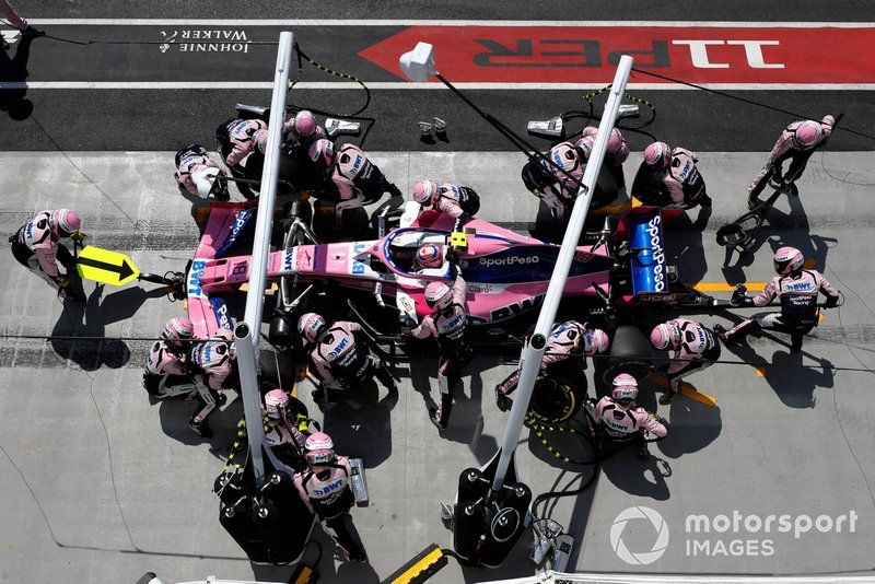 Lance Stroll Racing Point Rp19 Makes A Pit Stop Canadian Grand Prix Race Point Racing