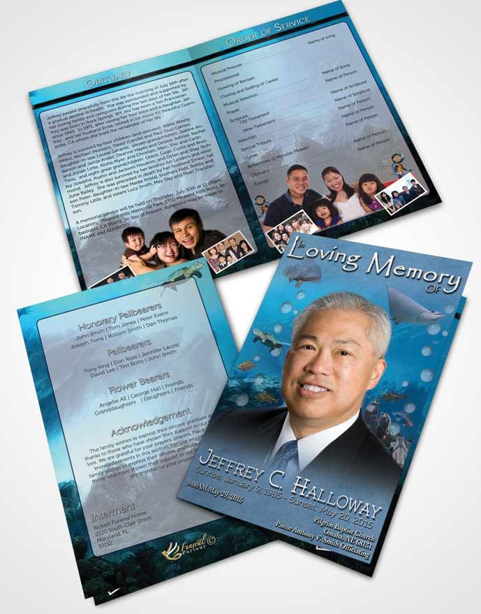 Bifold Order Of Service Obituary Template Brochure Deep Blue Water