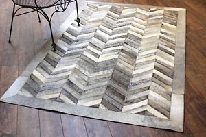 Bunkar 100 Leather Checkerboard Pattern Handmade Cowhide Rug Style Chevron | eBay