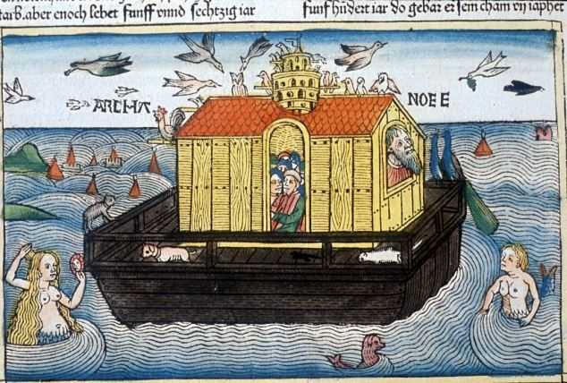 Some cool art from 1493 ! Mermaids and everything Legendary: A manuscript of Noah's Ark from the Nuremburg Bible 1493