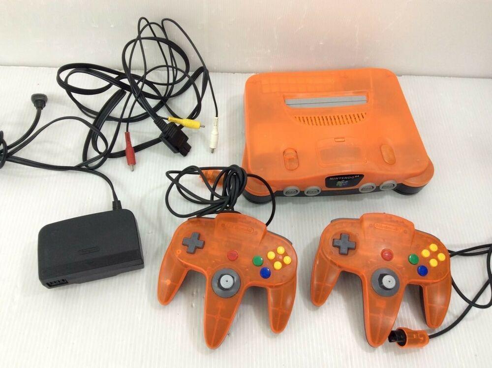 N64 Nintendo 64 Daiei Hawks Clear Orange Clear Black Console