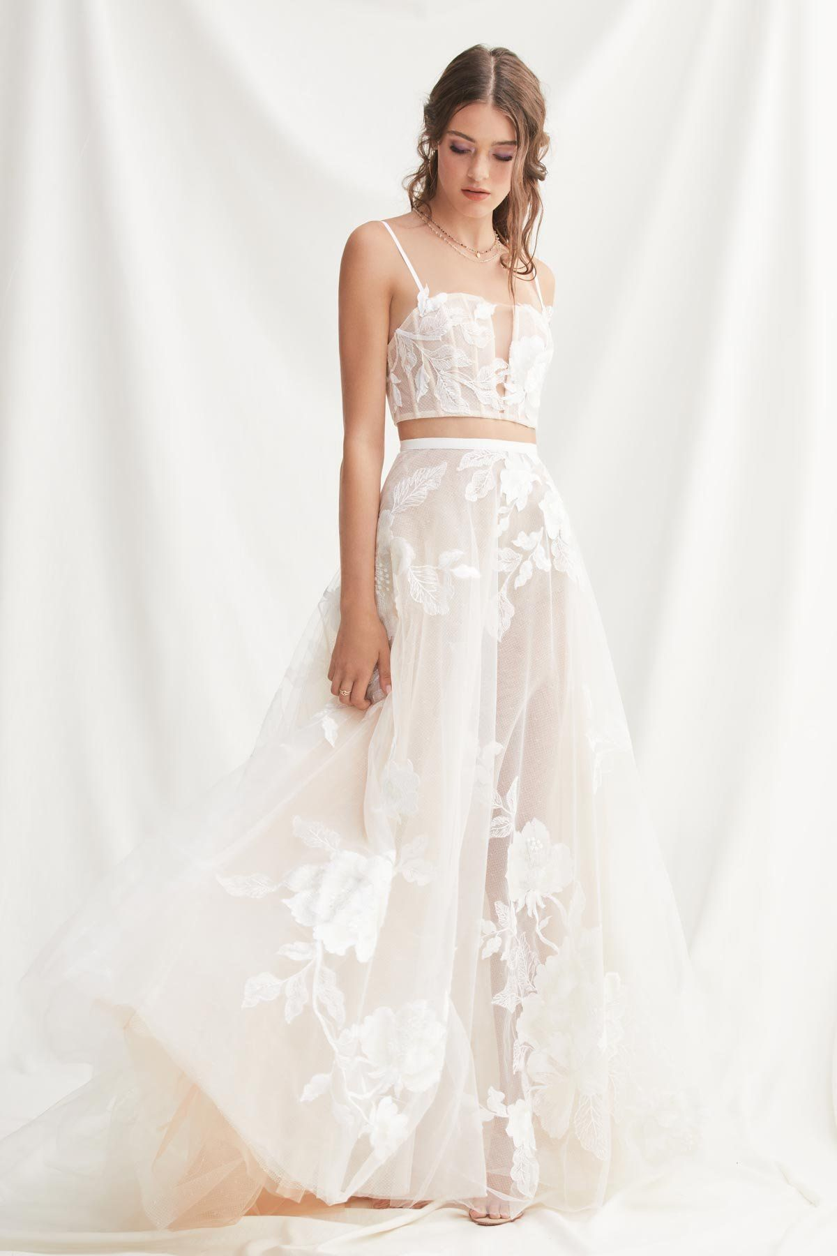 5da6997b107 Willowby by Watters 52118 Layla Top Lace Crop Top Wedding Separates – Off  White