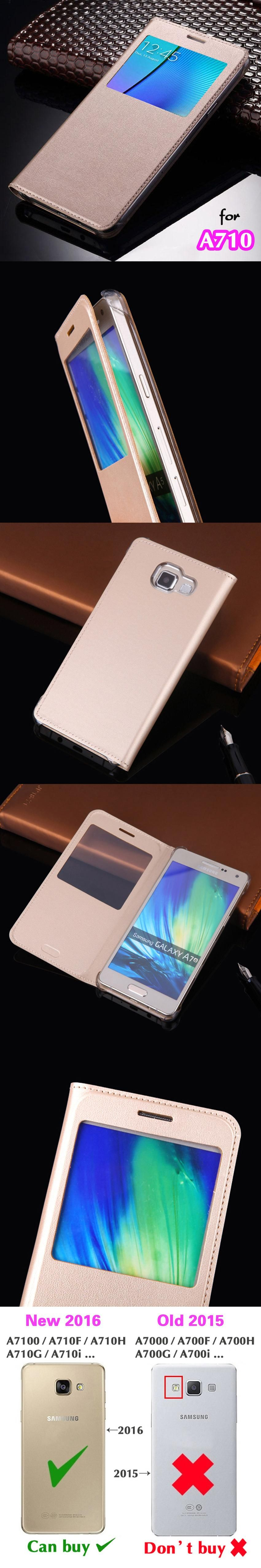 Flip Cover Leather Case Luxury View Shell Phone Bag Original Holster Sleeve For Samsung Galaxy A7