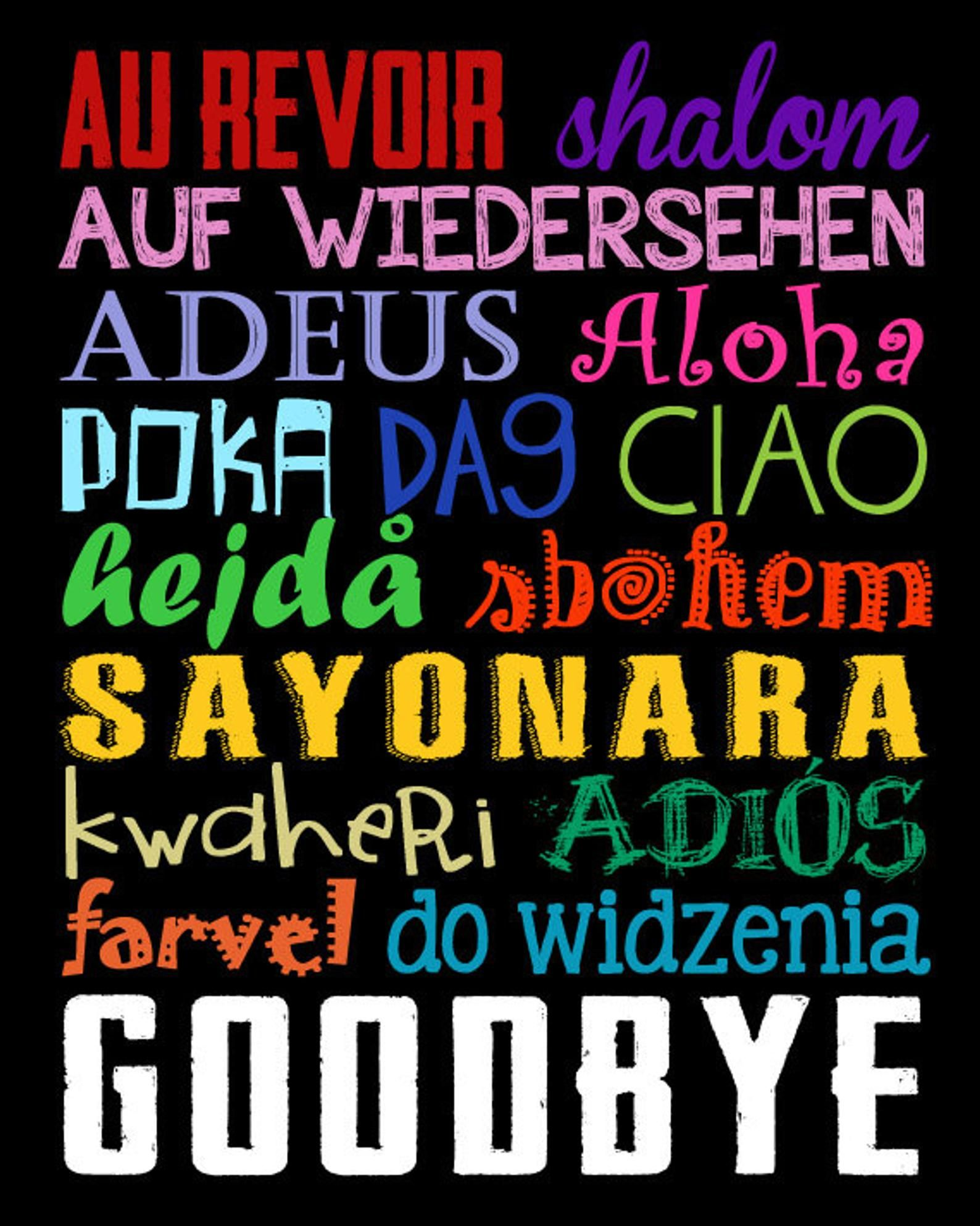 Goodbye sign goodbyes in different languages world