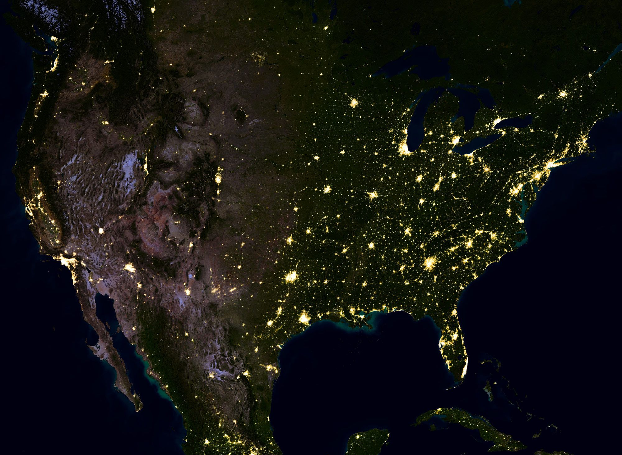 Earth at night nasa night lights satellite image map mural map earth at night nasa night lights satellite image map mural gumiabroncs Gallery