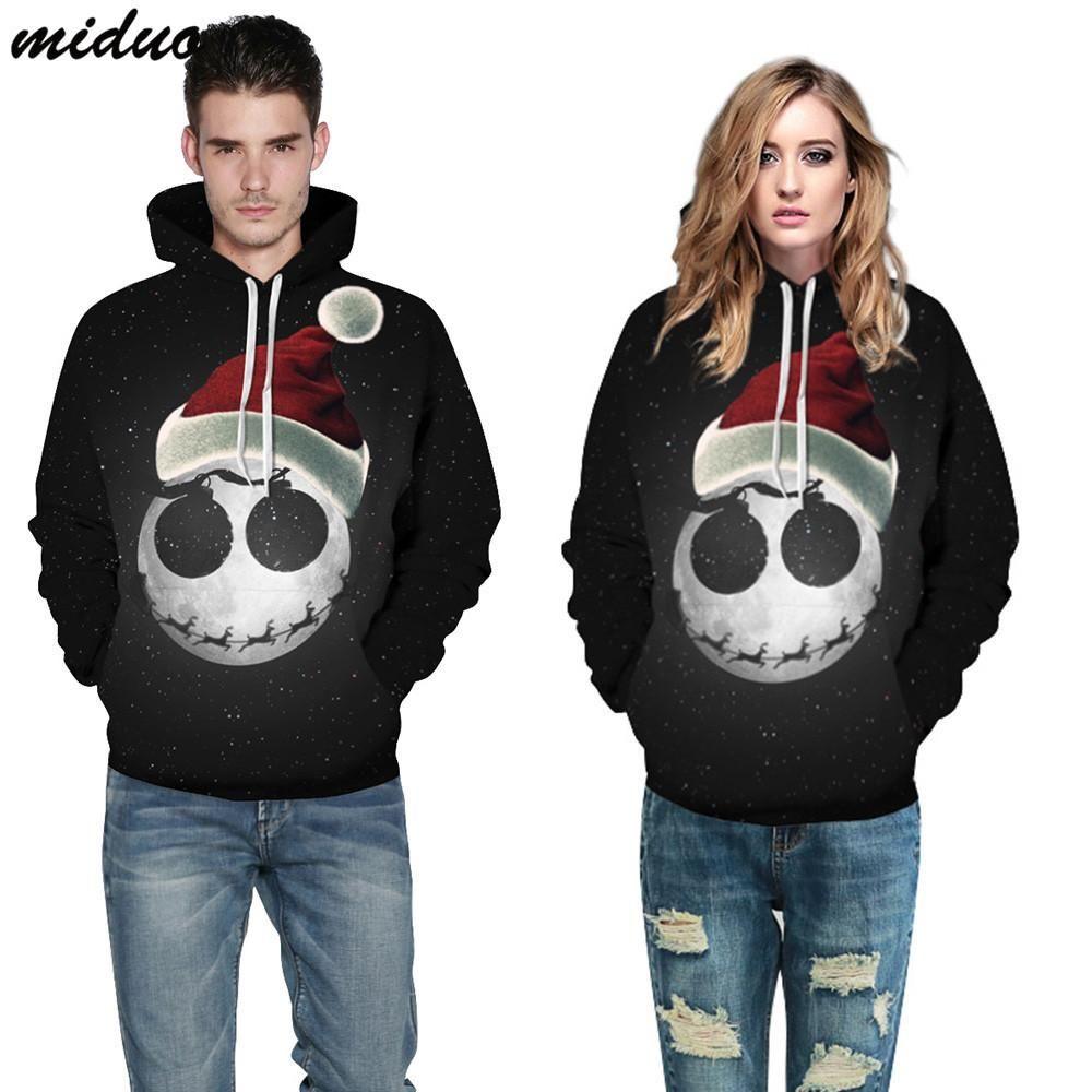 Unisex Christmas Long Sleeve Realistic 3D Digital Print Pullover Hoodie Hooded Sweatshirt