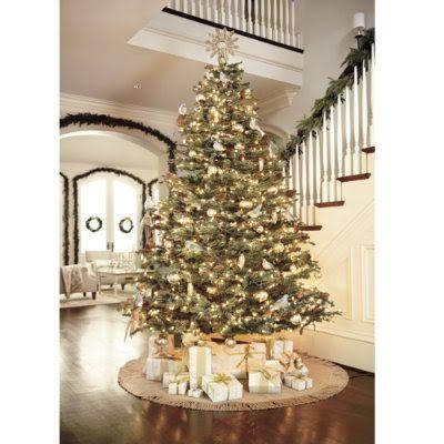Ballard Designs Christmas Tree With Burlap Garland Burlap Christmas Tree Burlap Christmas Beautiful Christmas Trees