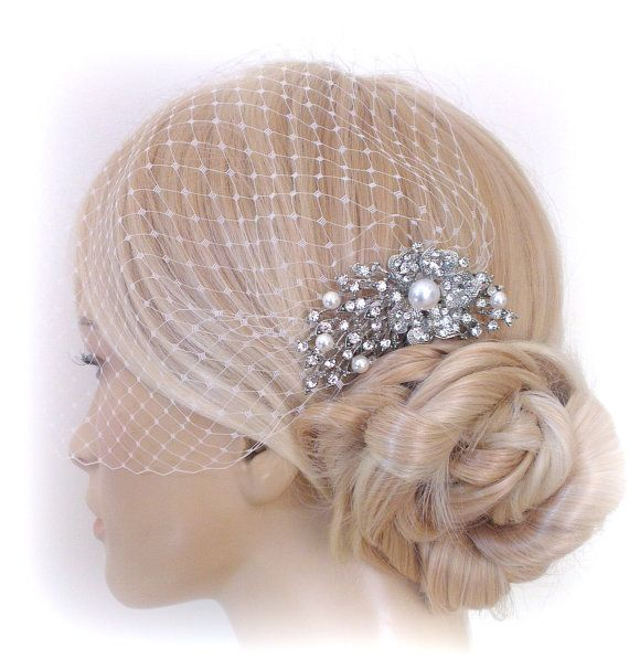 birdcage veil and a bridal comb 2 Items   by SnowWhiteStudio, $72.00