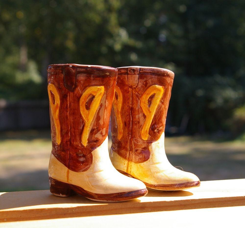 Vintage Cowboy Boots Salt Pepper Shakers  ceramic salt pepper Western Decor collectible Salt and pepper set Rustic Farmhouse