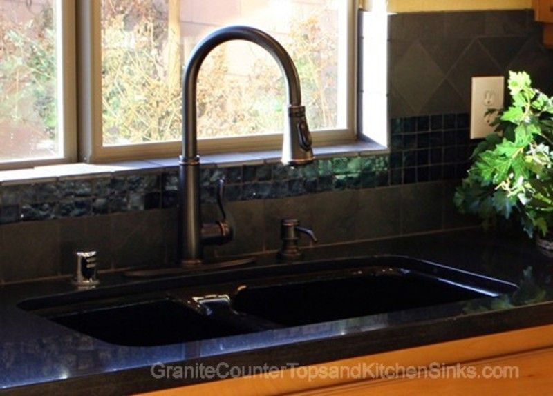 Granite Counter With Black Sink White Sink Black Granite