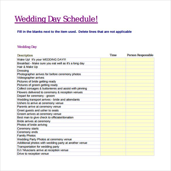 Wedding Schedule Templates template Wedding, Wedding schedule