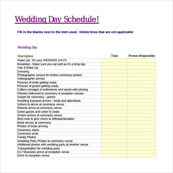 Wedding Day Schedule Pdf Wedding Day Schedule Wedding Day Timeline Template Wedding Reception Timeline