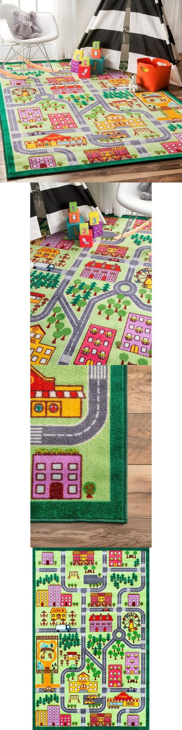 5x7 Area Rugs Geography and History Kids Play Rug City Street Map Road Playroom Mat Track Daycare