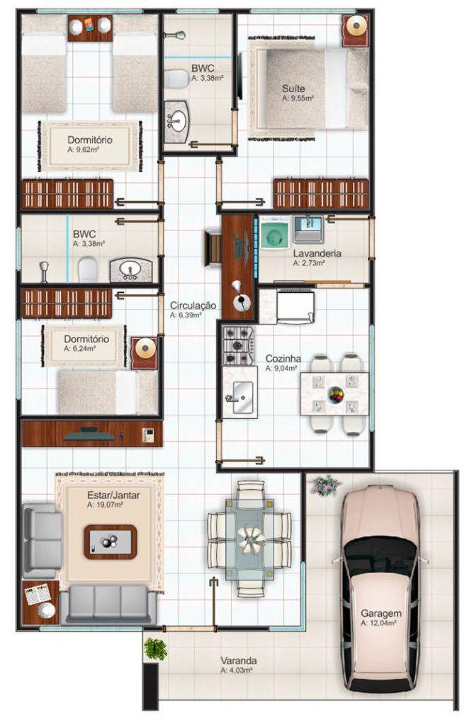 Plantas de casas até 100m2 - 3 modelos Casas Pinterest House - maison de 100m2 plan