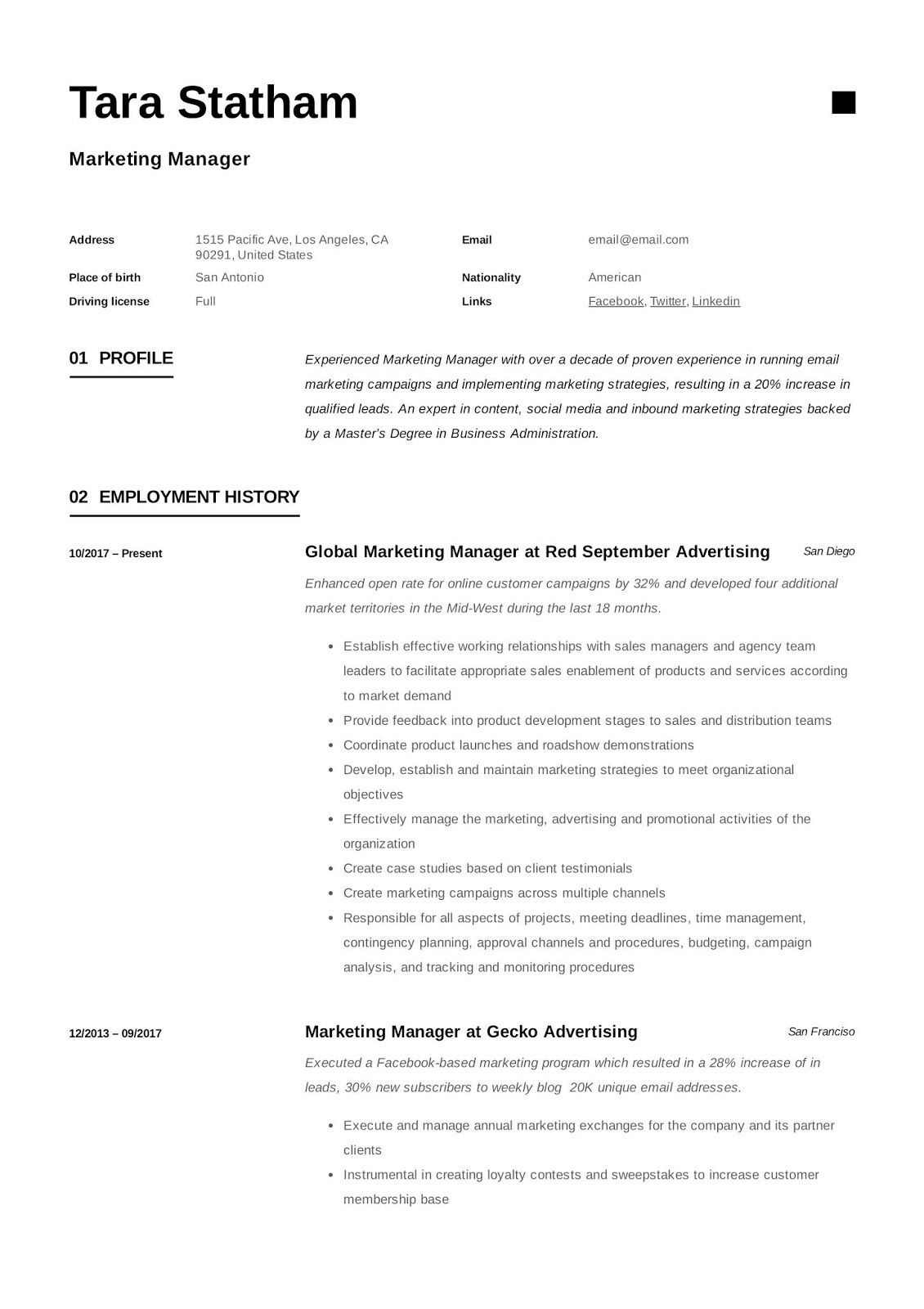 marketing manager cv example, marketing manager cv example