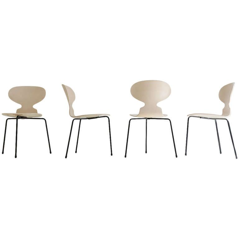 Set of 4 Arne Jacobsen Ant Chairs | From a unique collection of antique and modern dining room chairs at http://www.1stdibs.com/furniture/seating/dining-room-chairs/