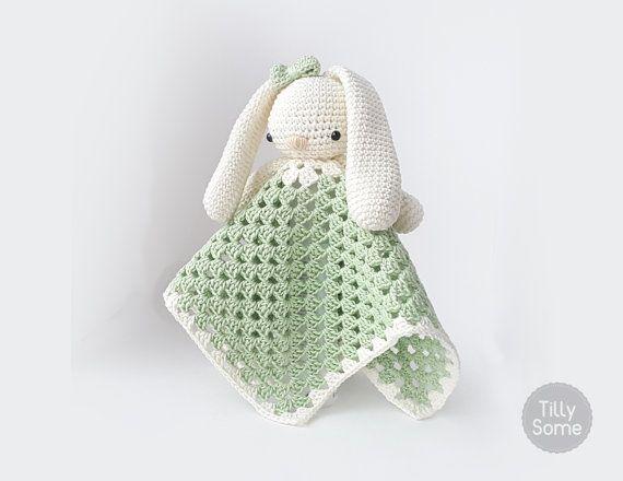Lovely Bunny Lovey Pattern | Security Blanket | Crochet Lovey | Baby ...