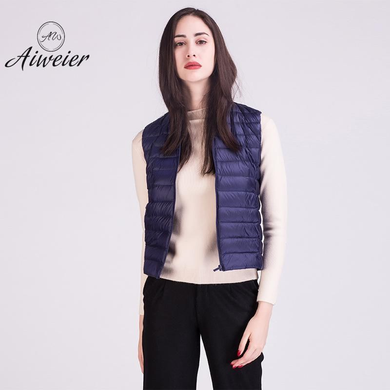 30a0c9f10dd1c Plus Size Ultra Light Down Jacket Women Sleeveless Thin Zipper Solid Vest  Fashion Korean Warm Coats