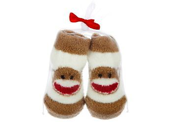 Keep your little monkey cute and cozy in this pair of sock monkey booties. Soft cotton booties feature a sock monkey face design.