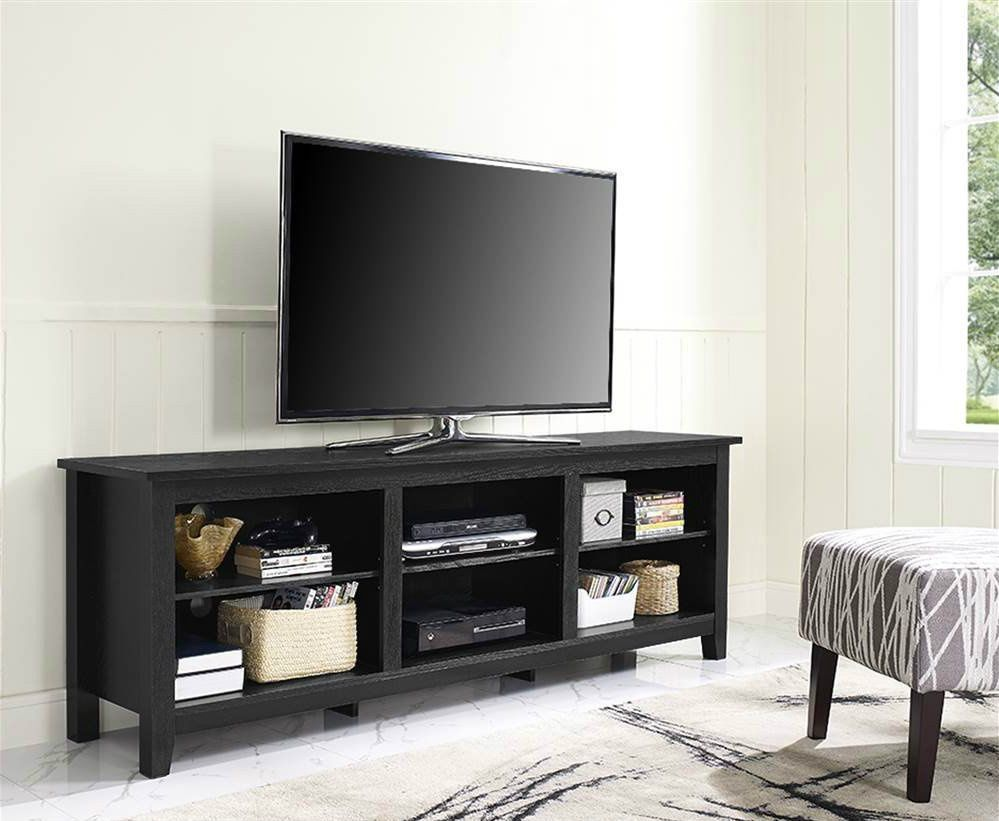 Tv Cabinet Stand Console Large Open Dvd Media Storage Shelves Wood Black 70 New Wef Cont Living Room Tv Stand Living Room Entertainment Flat Screen Tv Stand
