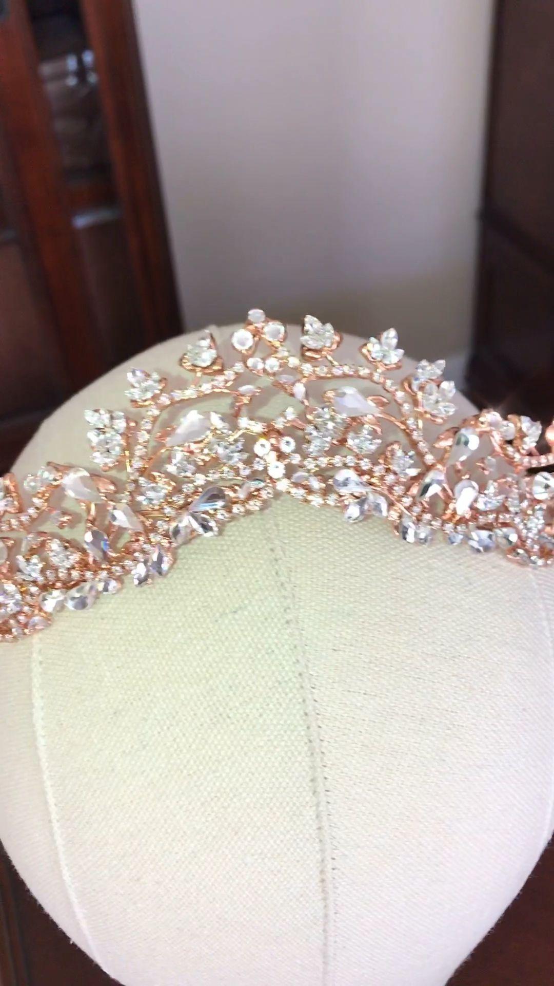 Rose gold bridal tiara crown