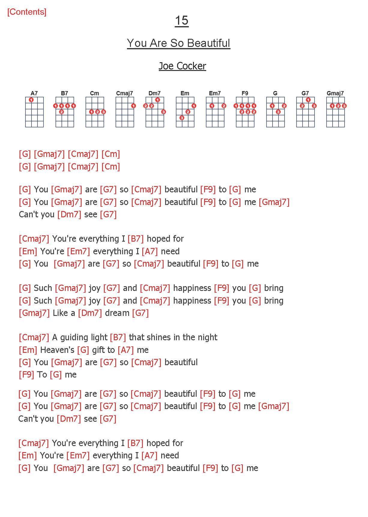 15. You Are So Beautiful   Joe Cocker   Ukelele chords songs ...