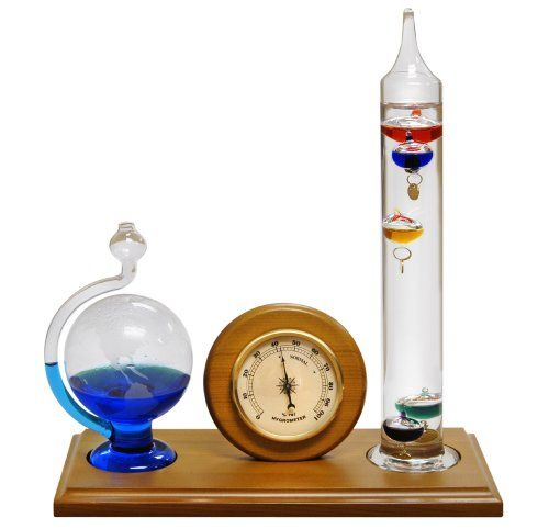 Lily S Home Analog Weather Station With Galileo Thermometer Hygrometer And Etched Glass Fluid Baromet Galileo Thermometer Weather Station Weather Instruments