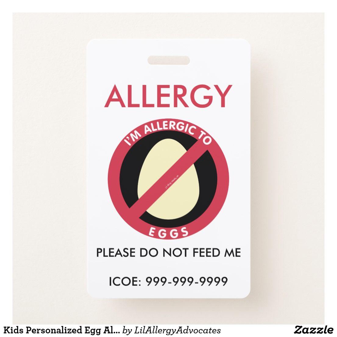 Kids Personalized Egg Allergy Emergency Badge Zazzle Com Kids