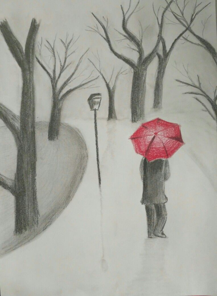 Pencil drawing a girl with a red umbrella pencil sketch
