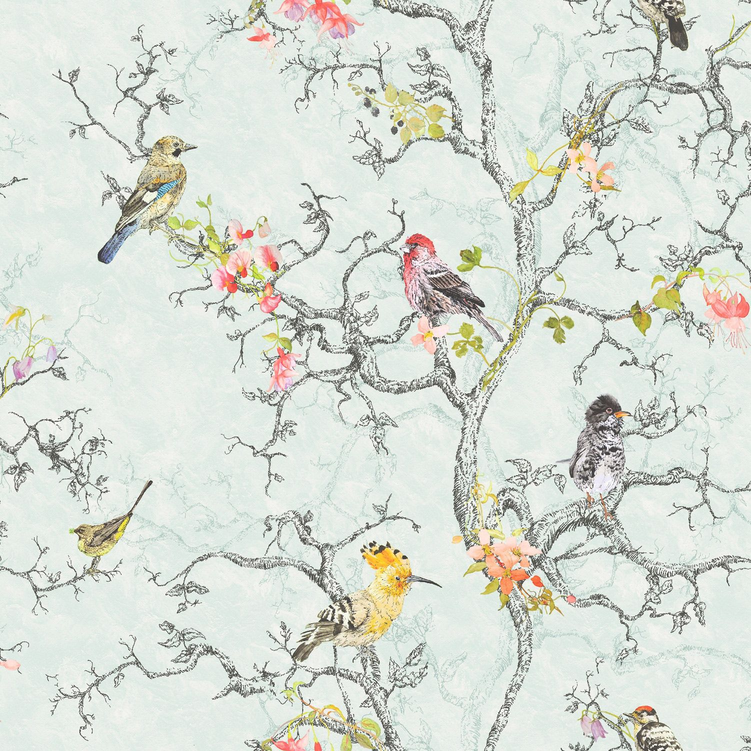 Birdwatch duck egg wallpaper and wallcoverings from