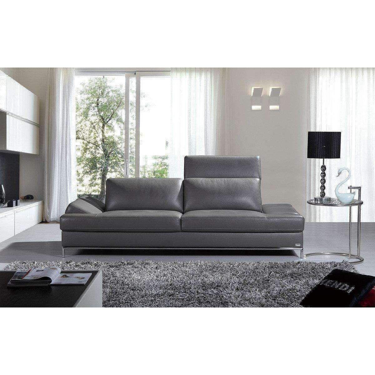 Puff X Divani.Divani Casa Izzy Modern Dark Grey Eco Leather Sofa In 2019
