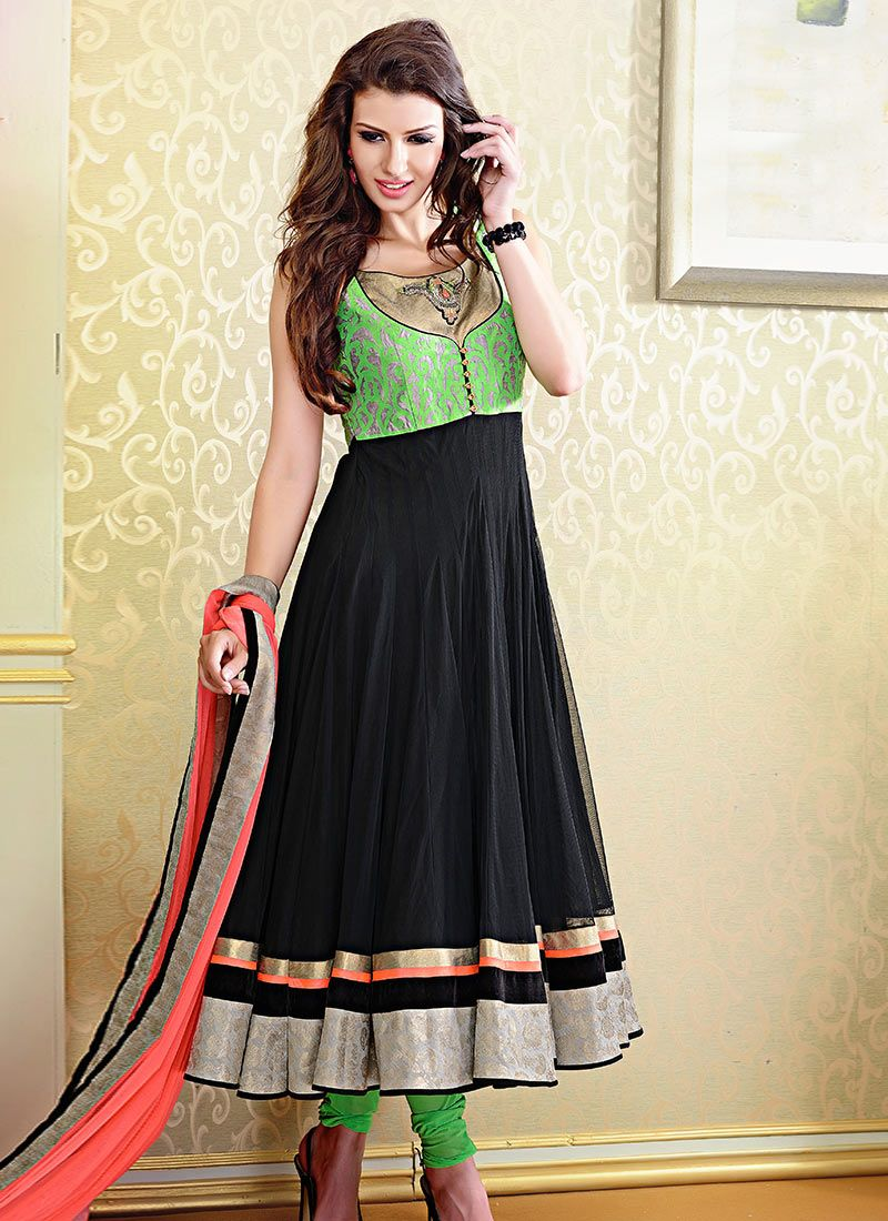 Neon Trendss Designer Readymade Suits Jet Black Net Readymade ...