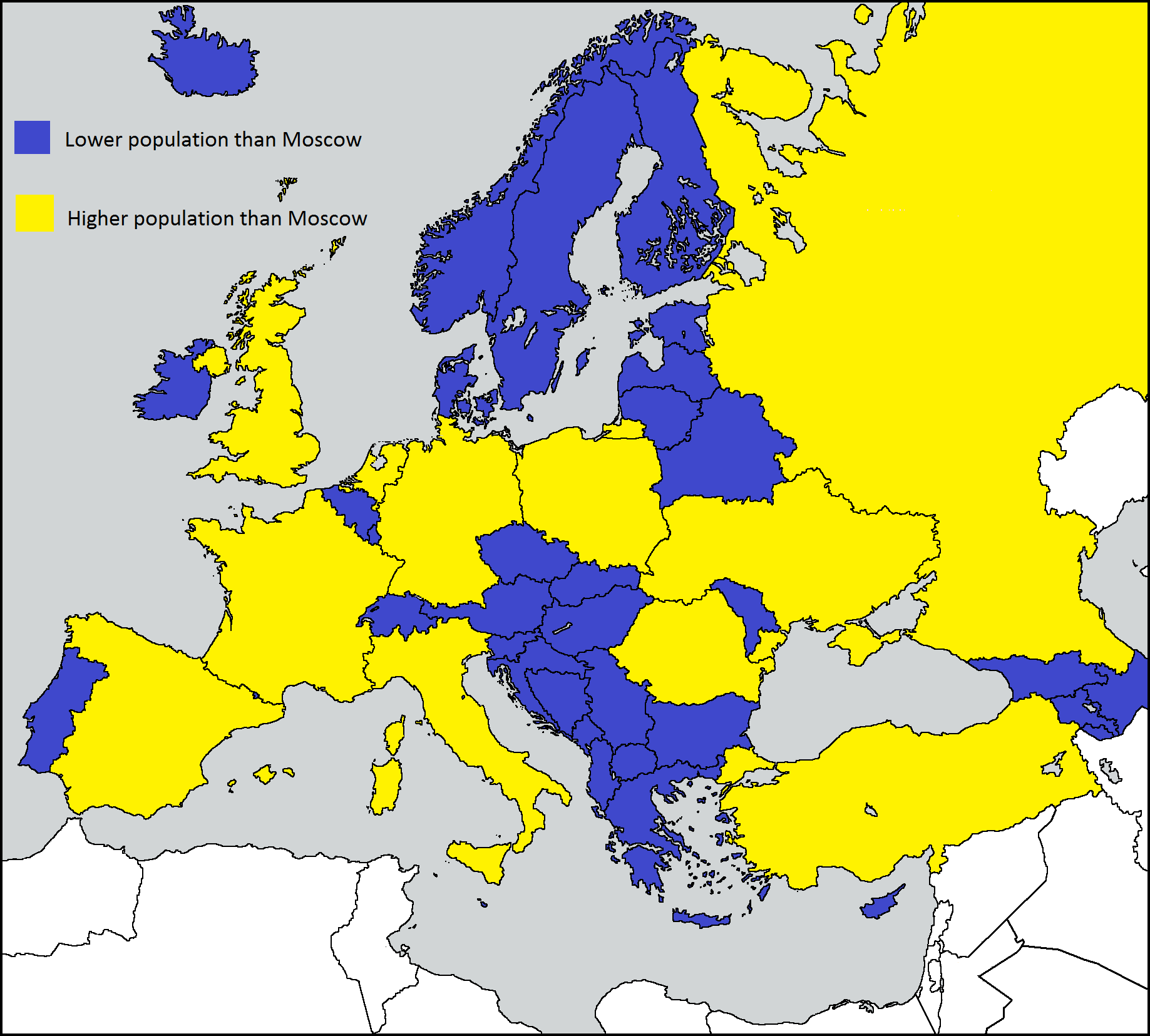 European Countries With Smaller Population Than Moscow Fantasy Map