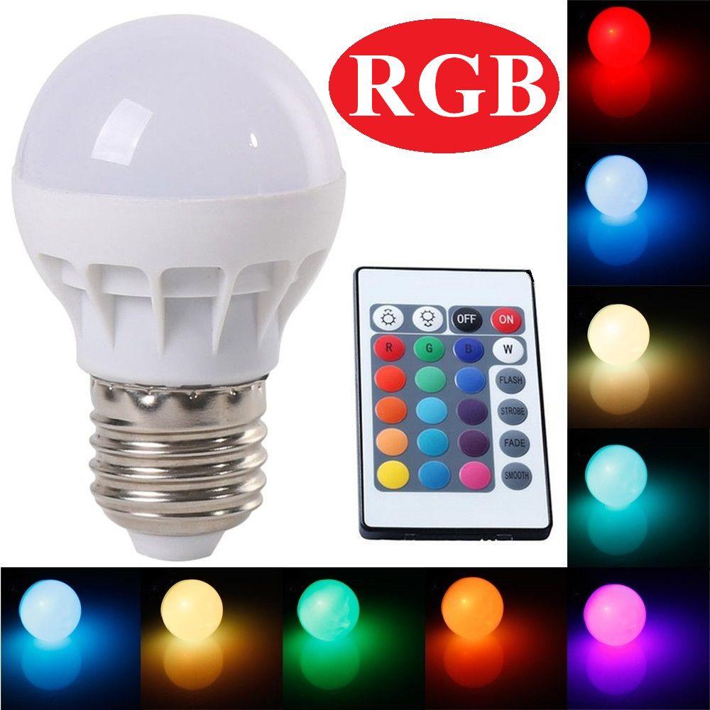 Rgb Led 램프 E27 3 와트 전구 Rgb Soptlight 85 265 볼트 에너지 절약