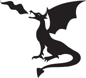 Medieval dragon. Fire breathing clipart kid