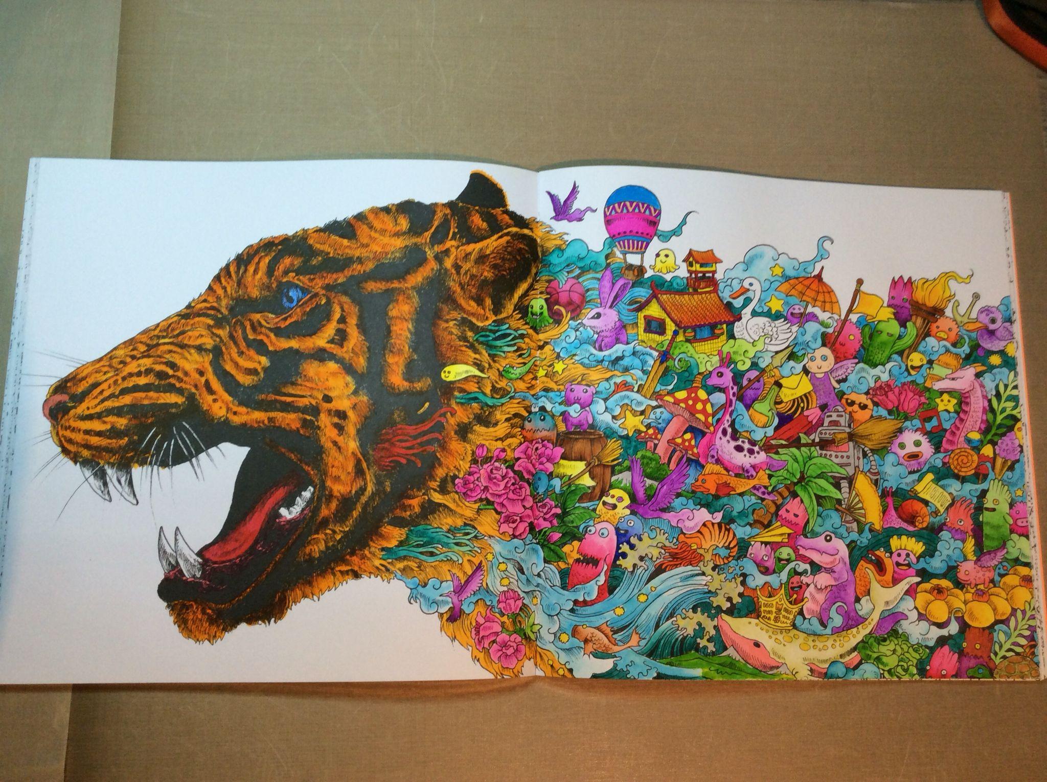 Animorphia Color Book Zig Clean Brush And Akashiya Sai Brushpen Briah Bat Aryeh